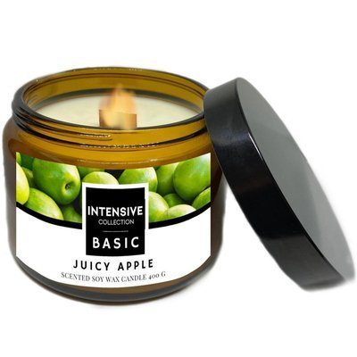 Intensive Collection Amber Basic large natural soy wax scented candle wooden wick 400 g - Juicy Apple