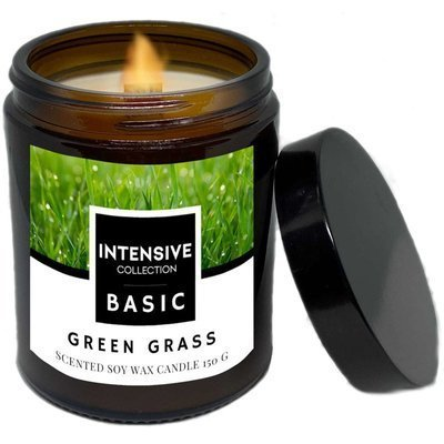 Intensive Collection Amber Basic natural soy wax scented candle wooden wick 150 g - Green Grass